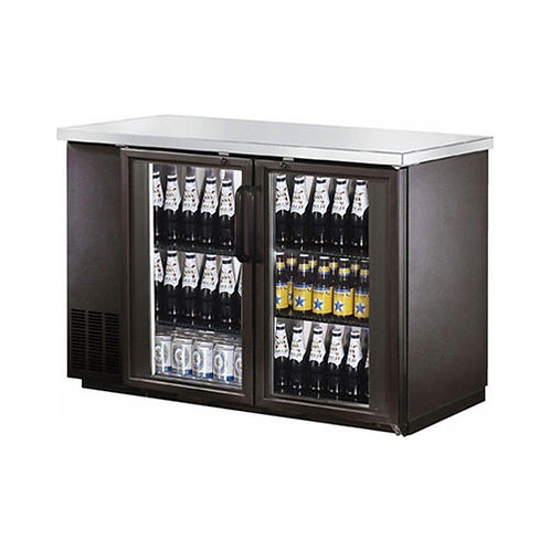 "New Air 59"" wide glass door back bar refrigerator"