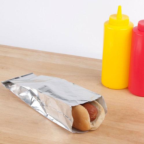 "3 1/2"" x 1 1/2"" x 9"" Unprinted Foil Hot Dog Bag - 1000 / Case"