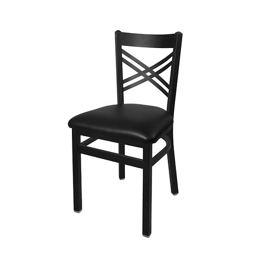 BFM Seating Akrin Metal Chair - with Black Vinyl Seat - 6 Colors to choose from