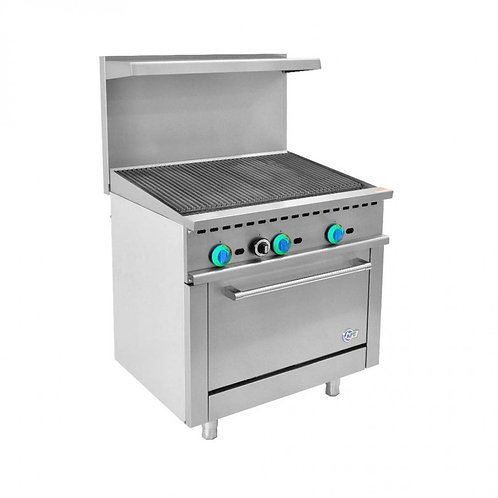 """36"""" char broiler with oven below"""
