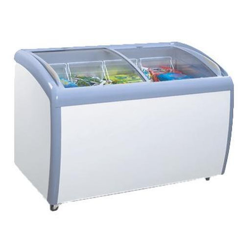 Commercial Angle Curved Glass Top Chest Freezer - 12 Cu.Ft.