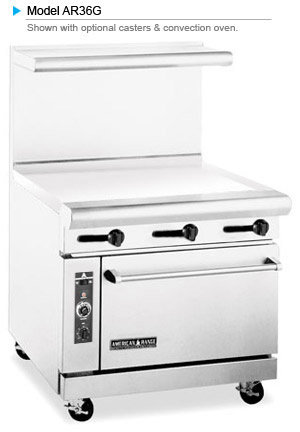 """AMERICAN RANGE  - 36"""" FLAT TOP GAS GRILL AND OVEN -"""
