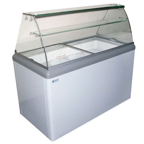 6 TUB ICE CREAM DIPPING CABINET - CURVED GLASS