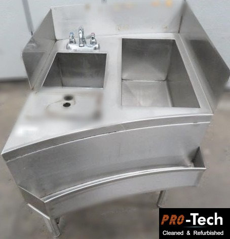 Curved - unique bar sink - ice well combo