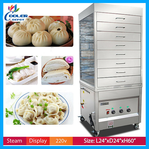 Electric Steam Warmer Commercial 8 Cabinet Dumpling Cooker Display