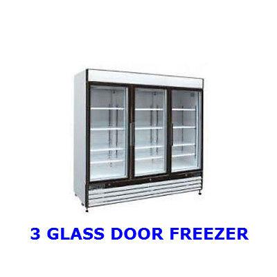 3 DOOR GLASS FRONT FREEZER - 72 CUBIC FEET