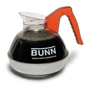 BUNN EASY POUR COFFEE DECANTER WITH ORANGE HANDLE AND STAINLESS STEEL BOTTOM - 6