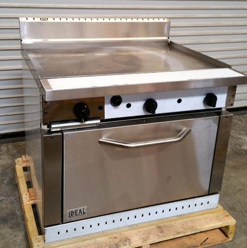 """IDEAL BRAND - 36"""" Gas flat to grill with oven below"""