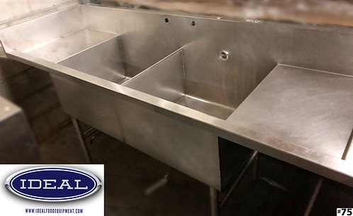 2 Compartment stainles steel pot sink with 2 drainboards