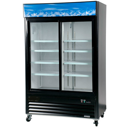 Black Sliding Glass Door Merchandiser Refrigerator with LED Lighting