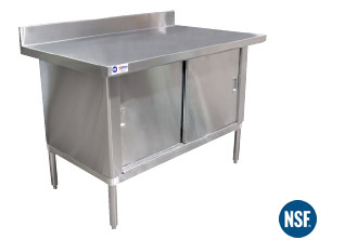 X Stainless Steel Work Table Cabinet Witht Backsplash - 30 x 60 stainless steel work table