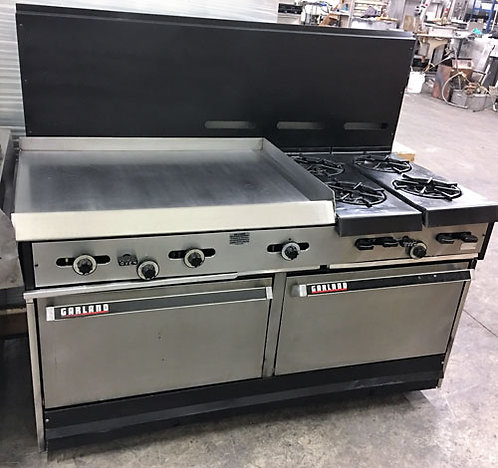 "Garland gas range - 2 ovens - 4 burners - 36""flat top grill"