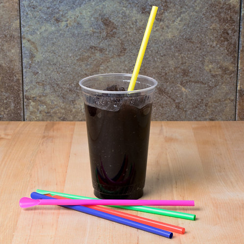 "8"" Boldly-Colored Spoon Straws - 10,000 / Case"