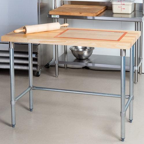 Hardwood table with open galvanized legs  - open base