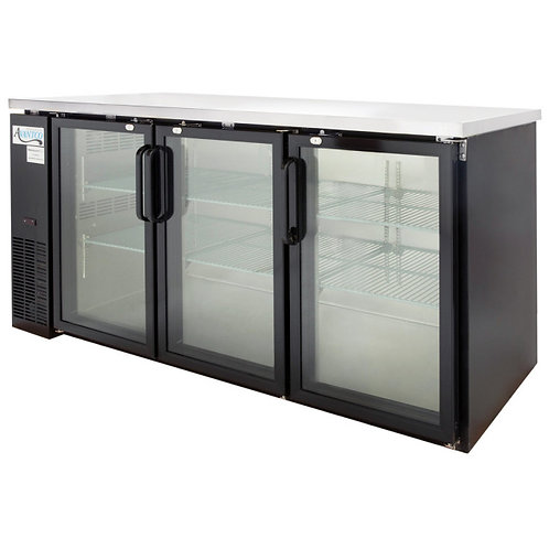 "72"" Glass Door Back Bar Refrigerator with Stainless Steel Top and LED Lighting -"