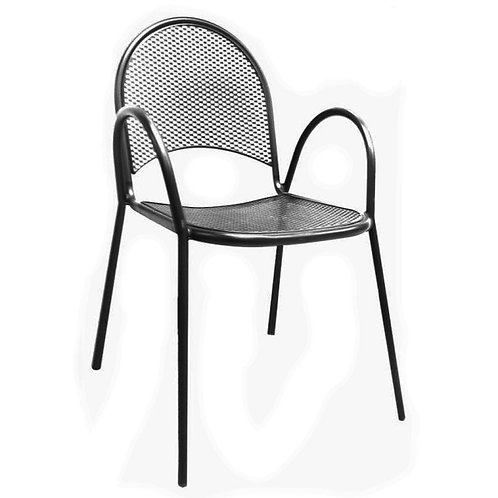 BLACK MESH BACK AND SEAT OUTDOOR CHAIR