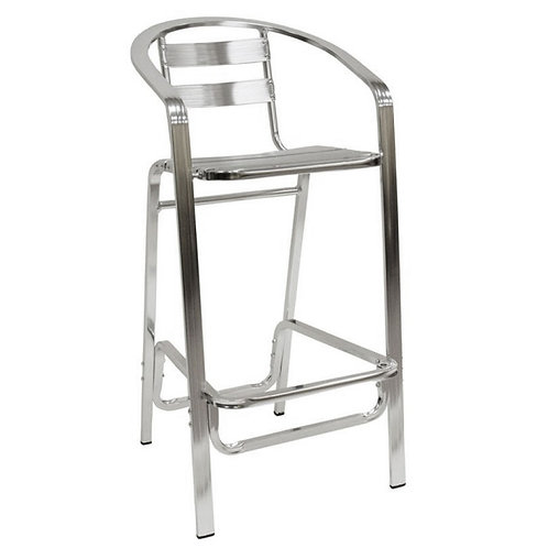ALUMINUM BAR STOOL SLAT BACK AND SEAT