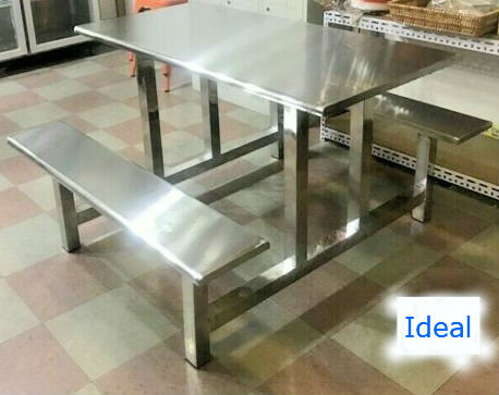 Stainless Steel Picnic Style Table w/ Bench Chair Seats