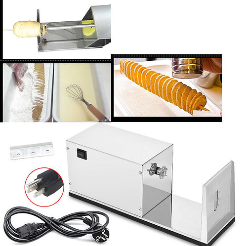 Electric Cutter Spiral Potato Slicer French Fry Vegetable Twister Curly USA