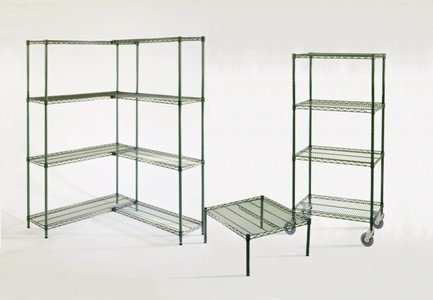 GREEN EPOXY COATED WIRE SHELVING AND POSTS  - Check out the many sizes
