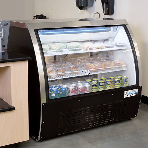 "47"" wide curved glass refrigerated Deli Case - 3 colors"