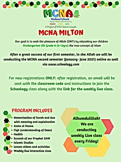 MCNA MILTON Second semester flyer for th