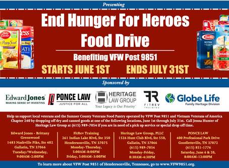 Heritage Law Group Hosts The End Hunger For Heroes Food Drive
