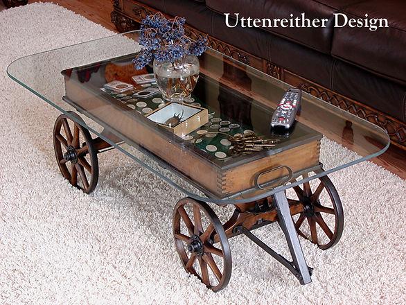 DIY upcycled wagon wheel  cart coffee table