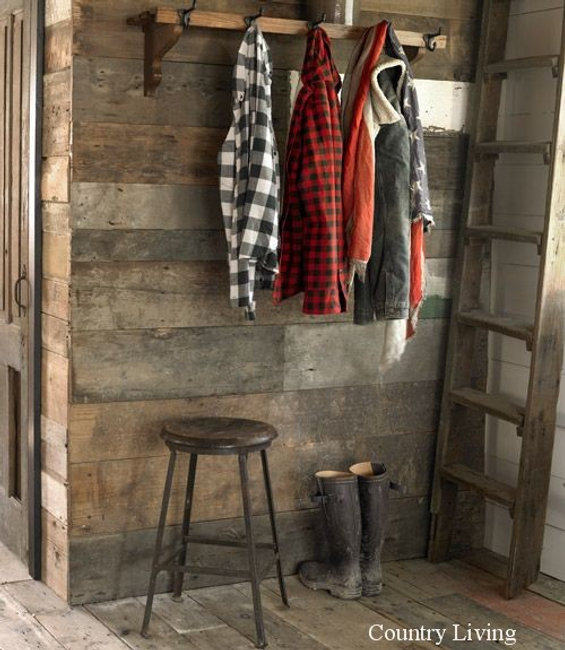 Simple rustic mudroom idea.