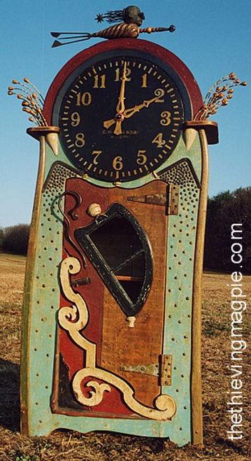 Artful funky junk grandfather clock