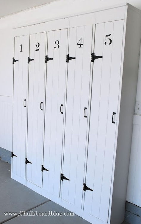 DIY Wood Lockers. Love the strap hinges!