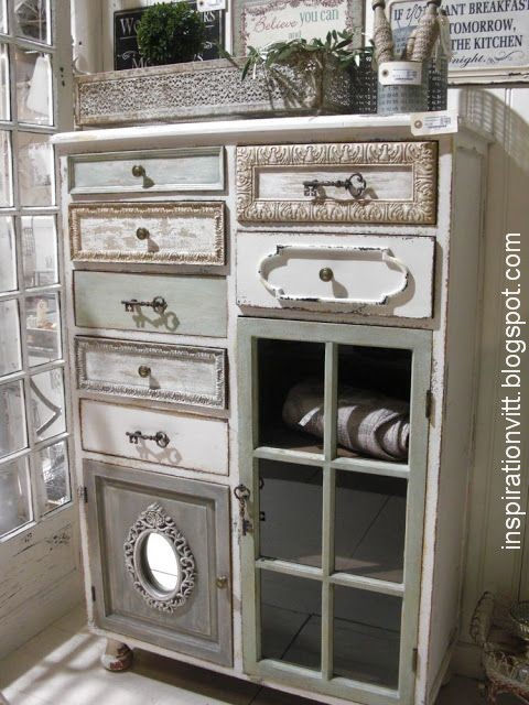 Hodgepodge dresser made from assorted old drawers
