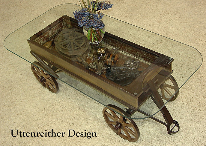 Repurposed antique toy wagon glass top display coffee table DIY furniture