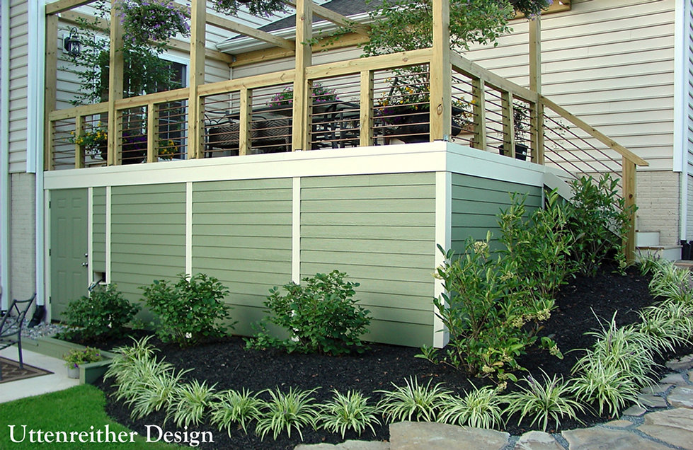 Under deck shed, storage, deck skirt, deck design ideas