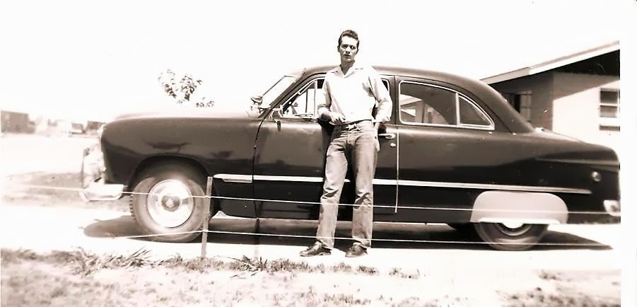 Dad and his first new car 1955