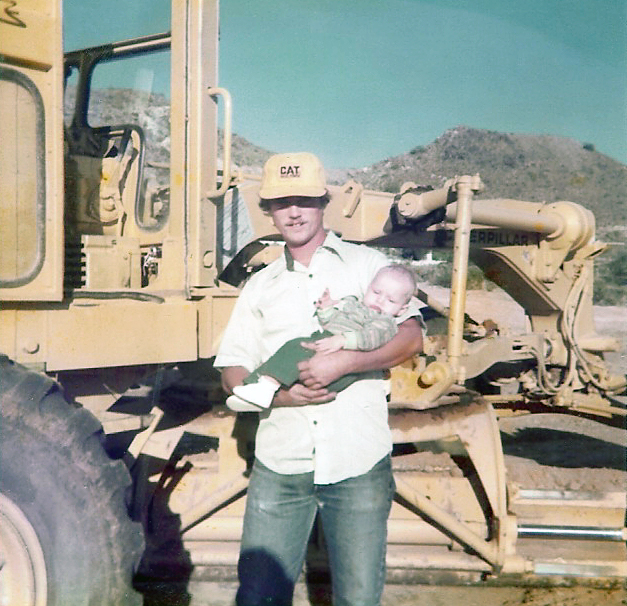 Dad and I by the 12F Cat Blade, '76.