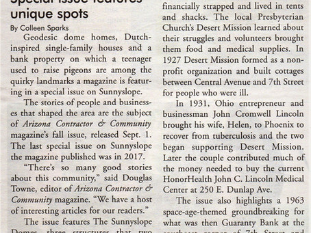 "North Central News Features Article on ACC ""Sunnyslope"" Special Issue"
