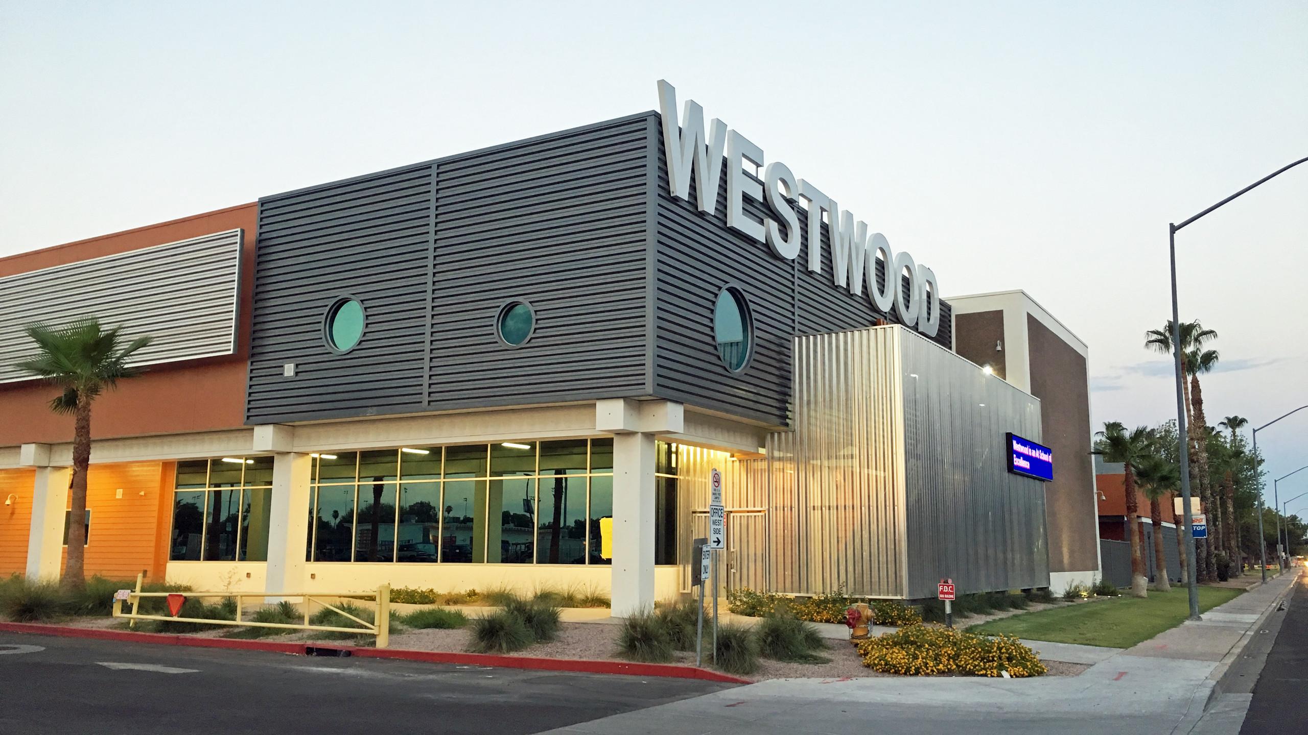 Westwood High School along Rio Salado Parkway, Mesa.
