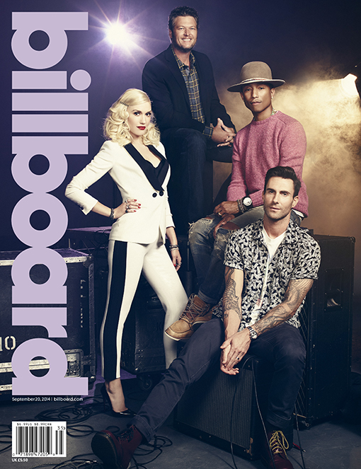 the-voice-gwen-stefani-blake-shelton-pharrell-adam-levine-cover-billboard