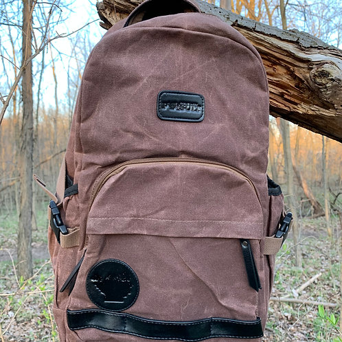 Great Lakes Pursuit Rugged Waxed Canvas Backpack- Brown Edition