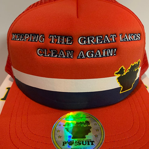 """Great Lakes Pursuit-""""Keeping The Great Lakes Clean Again!"""" Trucker Hat"""