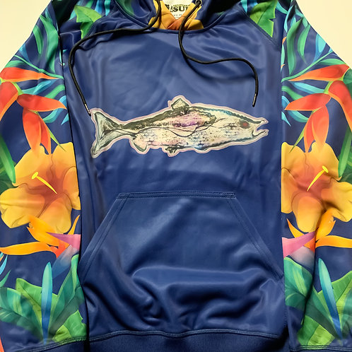 Great Lakes Pursuit Salmon Floral Hoodie