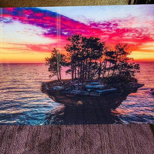 """24 X 36 Inch Acrylic Glass """"Raspberry Sky"""" Turnip Rock Floating Frame Wall Art"""