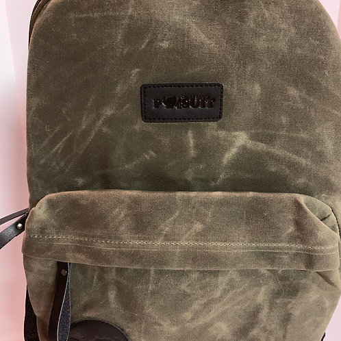 Great Lakes Pursuit Retro Waxed Canvas Army Green Backpack 2.0