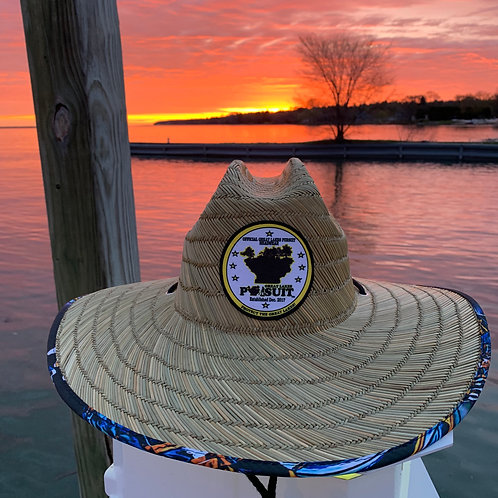 Great Lakes Pursuit Straw Hat (Mackinaw Mighty Mac Underprint Design)