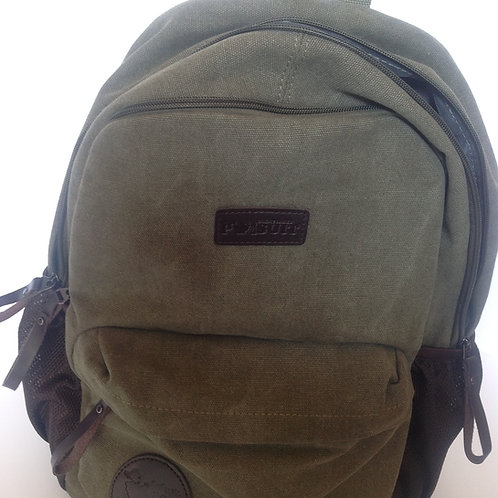 Great Lakes Pursuit Retro Canvas Backpack- Green