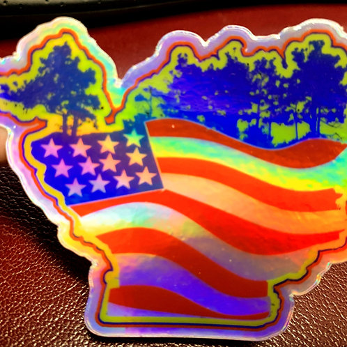 Great Lakes Pursuit Stars and Stripes Turnip Rock Sticker