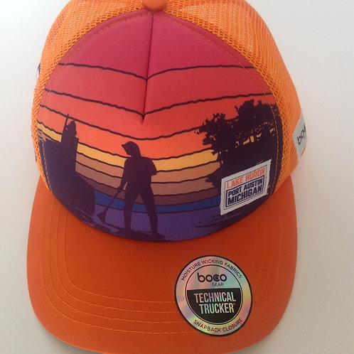 Huron Orange Pink Sunset Foam Technical Trucker Hat by BOCO Gear