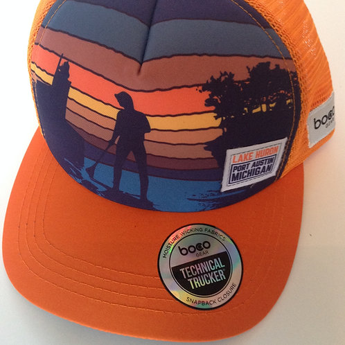 Huron Orange Midnight Blue Sunset Foam Technical Trucker Hat by BOCO Gear