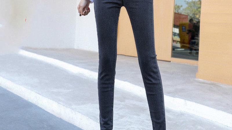 Tall Chicks Rule - Gray Skinny Ultra Long Pencil Pants in Denim